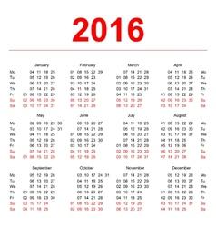 2016 calendar template vertical weeks first day vector