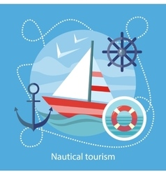 Nautical tourism sailing vessel in blue water vector