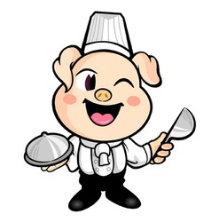 The best pig chefs smile vector