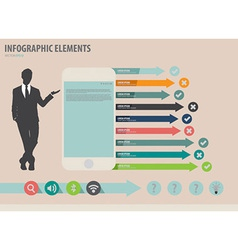 Businessman showing touchscreen device wi vector