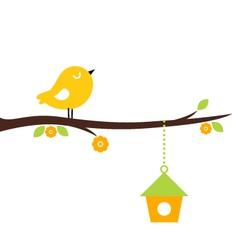 Cute beautiful spring birdie on tree branch vector