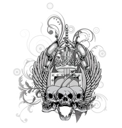 Floral with skull and wings vector