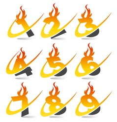 Swoosh flame logo numbers vector