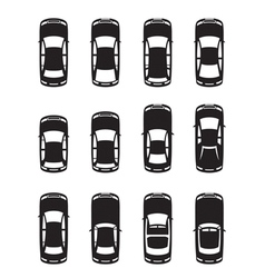 Different cars seen from above vector