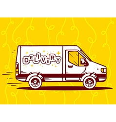 Van free and fast delivery to customer on vector