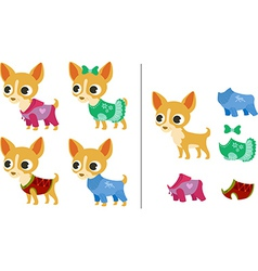 Set of chihuahua puppies and clothes vector