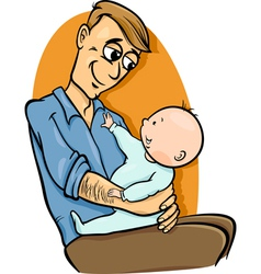 Father with baby cartoon vector