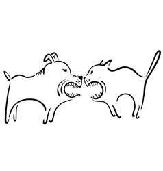 Cat and dog fight vector