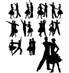 Couple dancing set vector