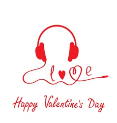 Red headphones happy valentines day card vector