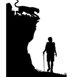 Lone hiker vector