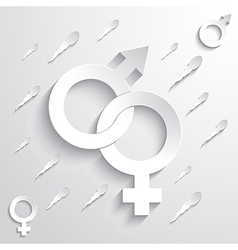 Gender signs on sperm background vector