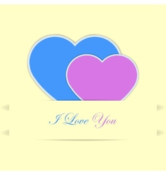 Valentine card with blue and pink hearts vector