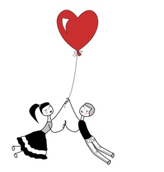 Girl and boy holding the string of flying red hear vector