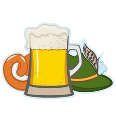 A glass of beer hat with feather and sausage vector
