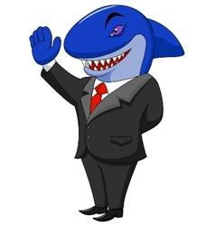 Business shark cartoon vector