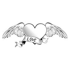 Heart with banner sketch cartoon vector