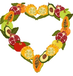 Fresh fruit in the form of heart vector