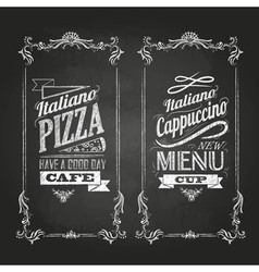 Chalk drawings menu retro typography vector
