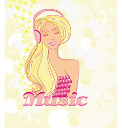 Disco girl with headphones on her head - poster vector