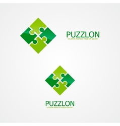 Set of puzzle logo for design template elements vector