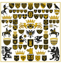 Heraldry crests and symbols vector
