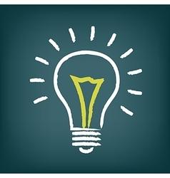 Chalk hand-drawn idea light bulb icon on gradient vector