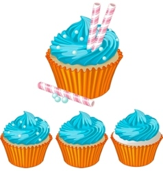Blue cream cupcake vector