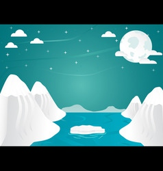 Artic landscape with icebergs in ocean mountain an vector
