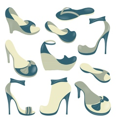 Footwear isolated objects collection vector