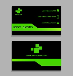 Business visit card template - green and black vector