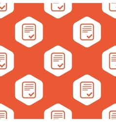 Orange hexagon approved document pattern vector