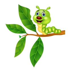 Cute caterpillar cartoon eating leaf vector