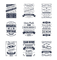 Denim typography logo emblems set vector