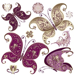 Set purple and gold vintage butterflies vector