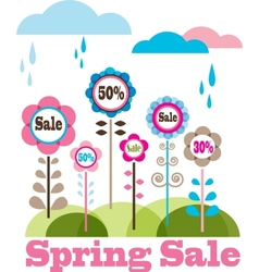 Sping sale flower meadow with rainy clouds vector