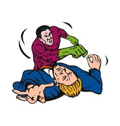 Cartoon super hero running punching vector
