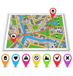 Paper maps icons and distance marked in red vector