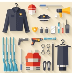 Security uniform and set protection staff vector