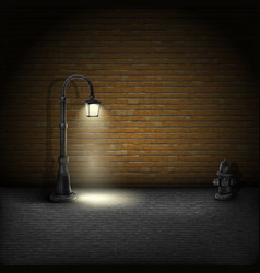 Vintage streetlamp on brick wall background vector