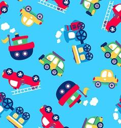 Little transport seamless pattern vector