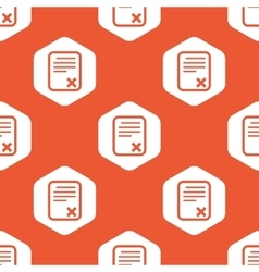 Orange hexagon declined document pattern vector