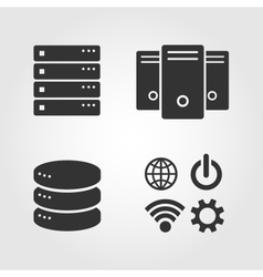Computer server icons set flat design vector