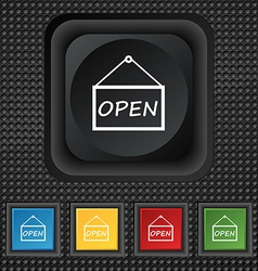 Open icon sign symbol squared colourful buttons on vector