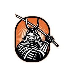 Japanese samurai warrior sword retro vector
