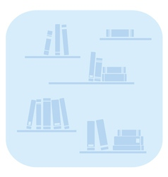 Books on the shelves - simply blue vector