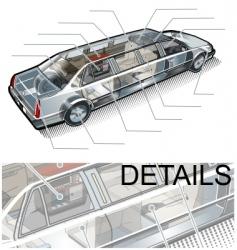 Limousine info graphics vector