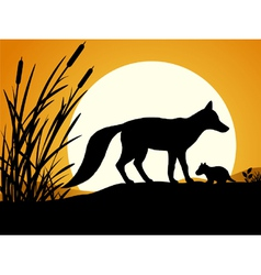 Silhouette of the fox vector