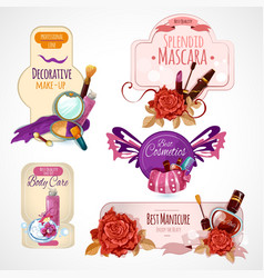 Cosmetics label set vector