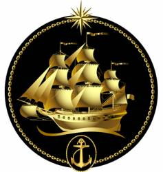 Gold sailing ship vector